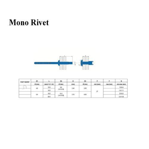 25 x Monobolt Structural Rivets Dome headed 6.4 x 20mm Blind Rivet Fastener Bolt