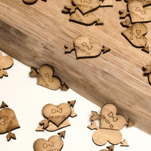Personnalisé Cœur en Bois /& ARROW décorations faveurs de mariage vintage. rustique