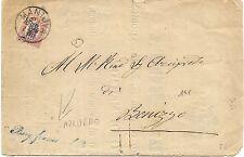 P7686   Mantova, Borgofranco sul Po, annullo lineare corsivo blu, 1878