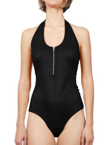 NE PEOPLE Women Faux Suede Sleeveless Scoop Neck Bodysuit Zipper Detail NEWBS10