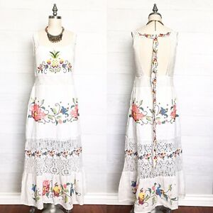 ANTHROPOLOGIE-FARM-RIO-Linen-Embroidered-Maxi-Dress-Pelican-WHITE-Size-M-NWT