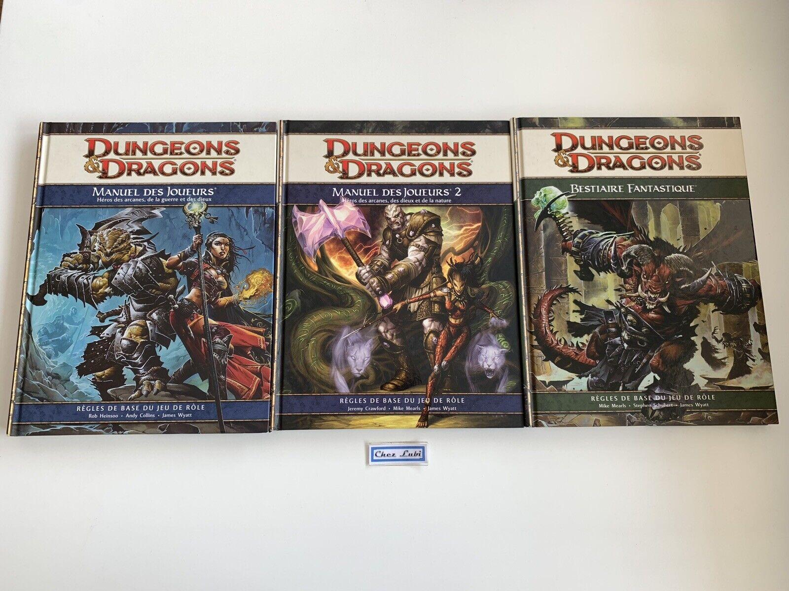Lot Dungeons & Dragons - Manuel Des Joueurs 1 et 2 + Bestiaire Fantastique - FR