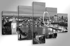 Quadro Moderno 5 pz. LONDRA SKYLINE B/N 5 pz. cm 150x90 arredamento stampa tela