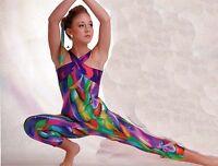 Foil Halter Unitard Acro Gymnastics Print Plums Ch/ladies Clear Straps Dance
