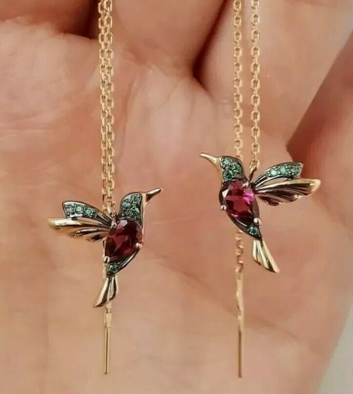 -we❤- Bird Hummingbird Earrings Drop Tassel Gold metal red crystal designer