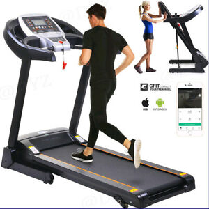 2.25HP Folding Treadmill W/Bluetooth Speaker Running Machine Home-Gym Fitness]