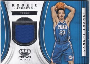 new concept 03e2f 5c025 Details about 2018-19 Panini Crown Royale LANDRY SHAMET RJ-LSH Rookie  Jersey RC Philly 76ers