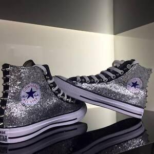 Converse all Star Nere personalizzate con tessuto Glitter argento Clean