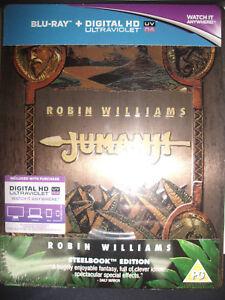 Jumanji-Embossed-STEELBOOK-Blu-ray-UK-Robin-Williams-REGION-FREE-New-Sealed