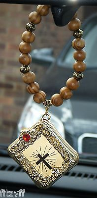 In Car Hanging Wood Wooden Beads /& Holy Bible Charm Religious Pendant