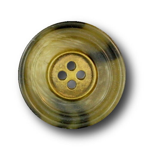 10er Set Mantel Knöpfe Horn-Optik mit altmessingfb 25mm Einsatz Ø ca