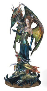 GREEN ELVEN FAIRY WITH TWIN DRAGONS FIGURINE