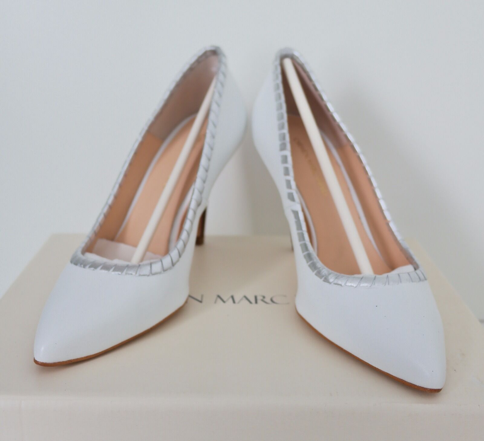 Carmen Marc Valvo Luann Pointed Toe Leather  Heels White Silver