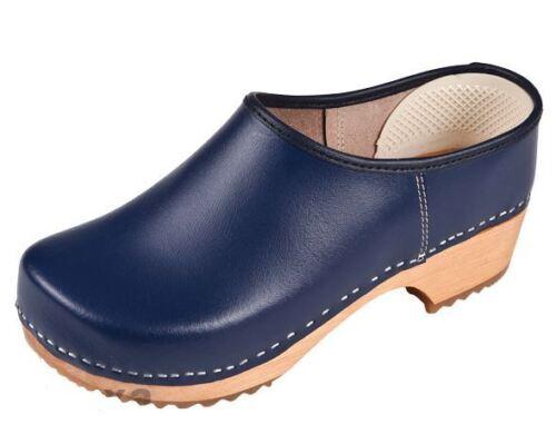Women/'s Wooden clogs   Dark  Blue color close ZF1 US Shoe Size