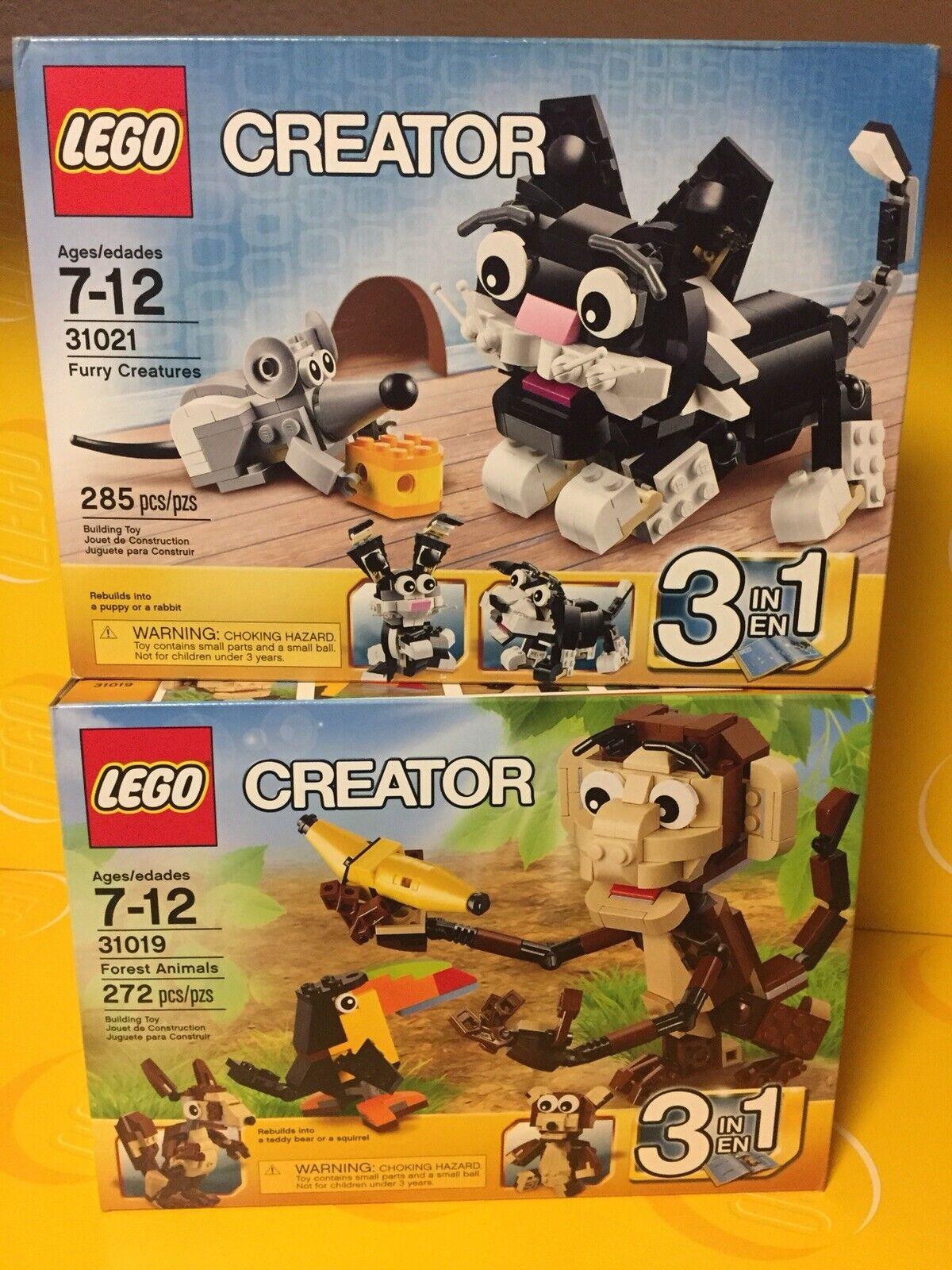 2 neuf lego creator Sets-Furry Creatures   31021 & Forêt Animaux  31019-HOW Mignon  les ventes chaudes