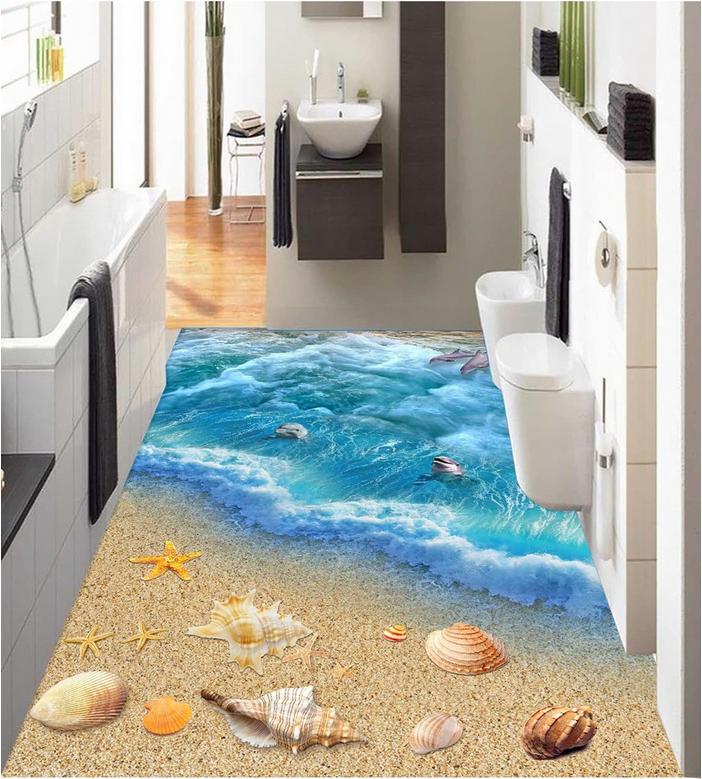 3D Dusk Seascape 9 Floor WallPaper Murals Wall Print Decal AJ WALLPAPER US Lemon