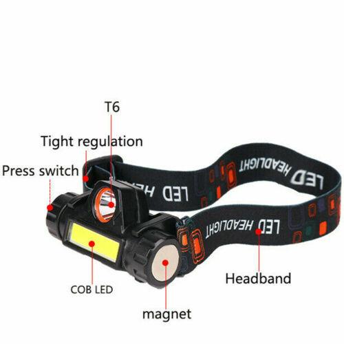 USB Rechargeable LED COB Headlamp Head Torch Flashlight Headlight Work Light
