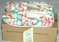 Toms Women's Classic Tropical Floral Burlap Shoes Size 6.5