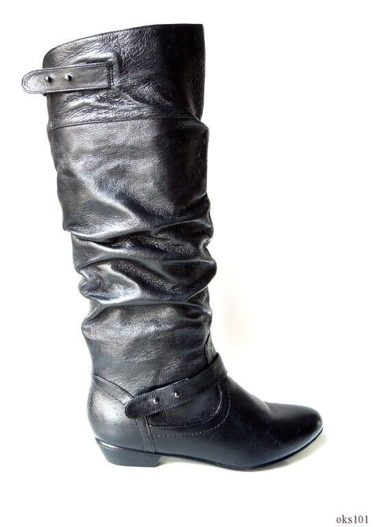 NIB STEVE MADDEN 'Kikii' black leather TALL 6 FLAT BOOTS 6 TALL - very comfortable aad835