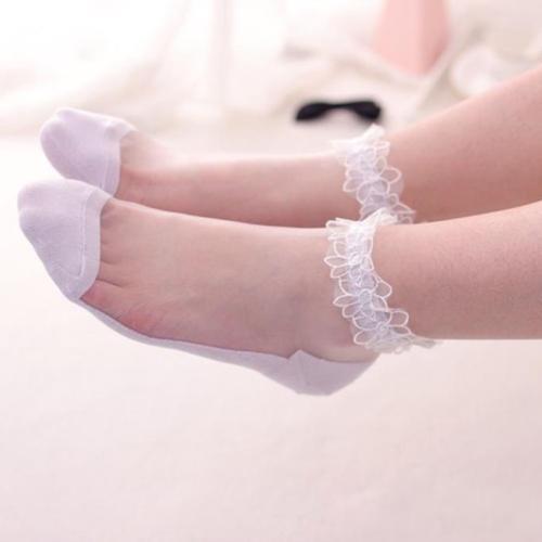 Ultrathin Transparent Crystal Elastic Short Socks Women/'s Girl/'s Lady Lace Socks