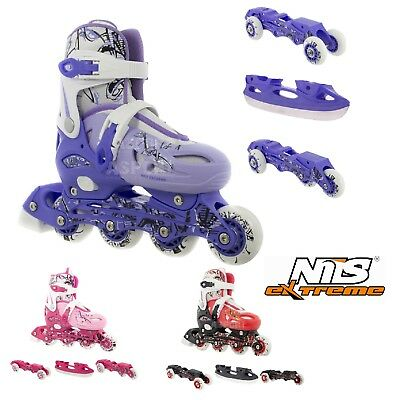 Nils 4in1 Pattini In Linea A Rotelle Allungabili Pattini Da Ghiaccio Triskate Lussuoso Nel Design