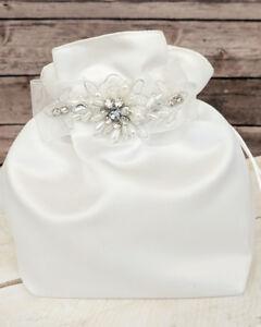 Image Is Loading Crystal Pearl Satin Bride Money Dance Bag Brides