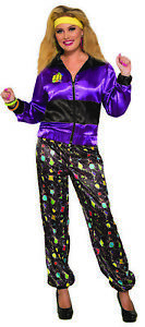 Womens Retro 1980s Tracksuit Shell Suit Scouser Jacket Pants Halloween Costume