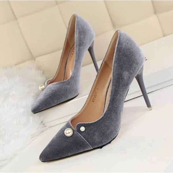 decolte scarpe donna eleganti grigio  perle 9 cm  stiletto simil pelle CW190