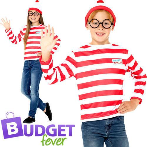 Where's Wally Instant Set Kids Fancy Dress World Book Day Boys Girls Costume