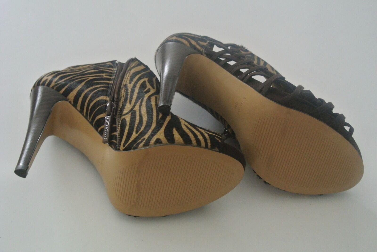 Multicolor Animal Print NINE WEST Open 6M, toe Leder Ankle Stiefel,Sz 6M, Open 4-in heels 0935a8