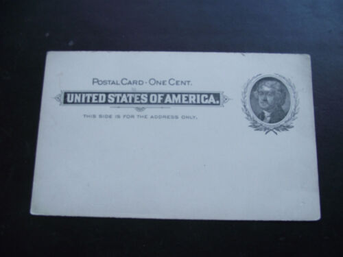 1890s USA. UNUSED 1c JEFFERSON LARGE WREATH POSTAL CARD