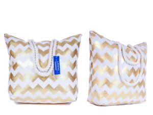 Ladies-Beach-Travel-Shopper-Bag-Womens-Rope-Handle-Tote-Handbag-Gold-Silver