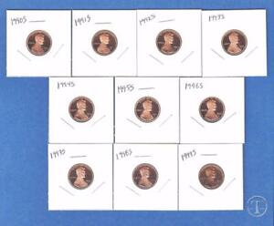 1990-through-1999-Lincoln-Proof-Cent-Penny-Set-of-10