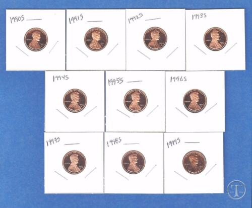 1990 through 1999 Lincoln Proof Cent Penny Set of 10