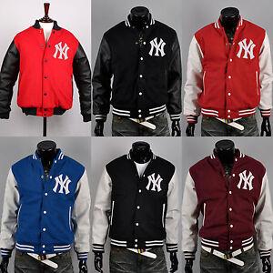 Letterman Wool Leather Logo Custom About Details Baseball Yankees New York Varsity Uk Jackets