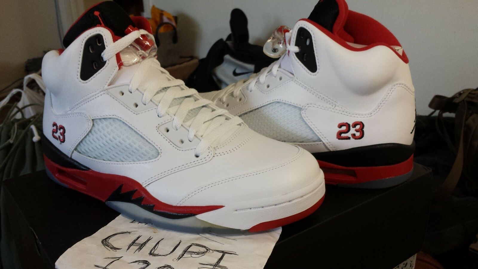 Nike Air Jordan Retro V 5 White Fire Red Black Tongue 23 136027-120 Doernbecher Cheap and beautiful fashion
