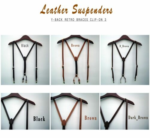 Mens Leather Suspenders Y-Back Retro Braces Clip-On Leather 3colors cowhide