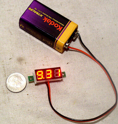 SMALL 3 DIGIT RED LED 2 WIRE AUTOMOTIVE DC CAR BATTERY VOLT METER MONITOR 3-30V