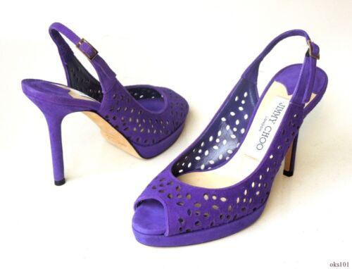 e1d1e73d6094 ... new  695 JIMMY CHOO laser cut purple suede open-toe slingbacks shoes 34  4 -