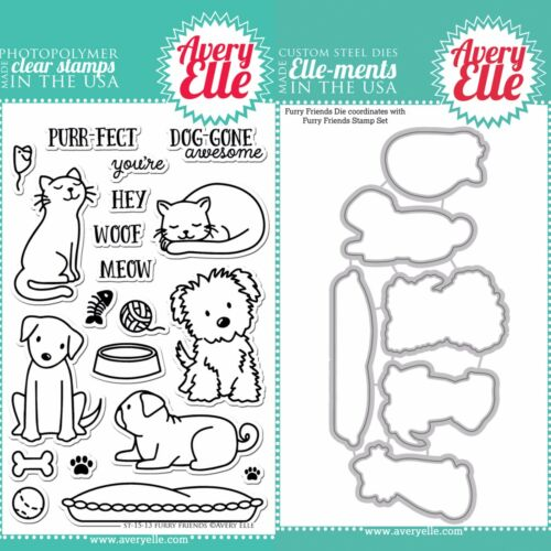 "Avery Elle /""FURRY FRIENDS/"" Clear Stamps Only OR Clear Stamp and Die Bundle"