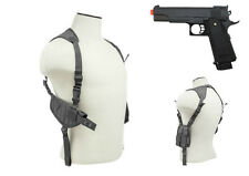 Halloween Costume Grey Pistol Shoulder Holster & Prop Airsoft Gun CV2909U