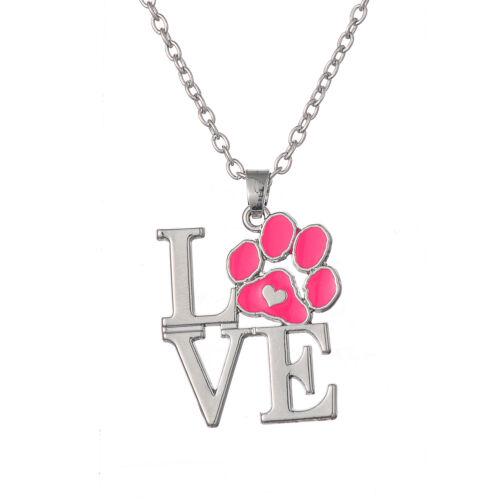 Love Dog Cat Paw Print mignon collier femme accessoires émail Beauté Jewlery