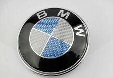 45MM  BLUE/WHITE CARBON STYLE STEERING WHEEL BADGE SUITABLE FOR BMW
