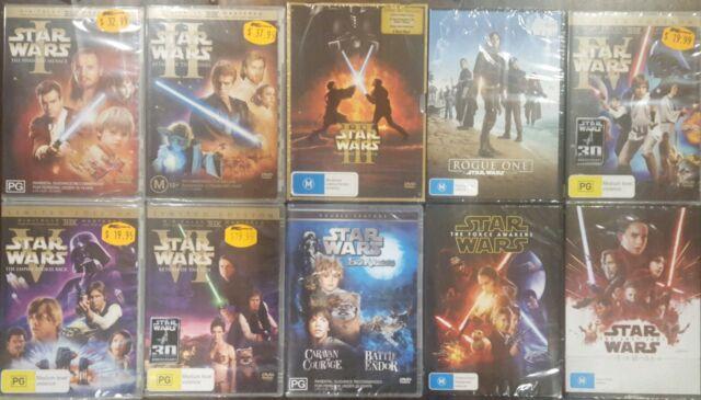 *NEW* STAR WARS EPISODE I II III IV V VI VII VIII 1 2 3 4 5 6 7 8 EWOKS FILM DVD