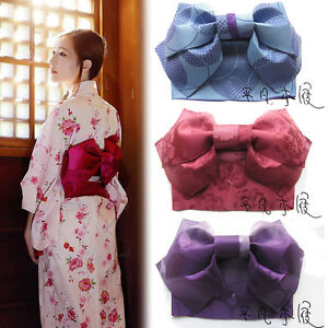 Women-Japanese-Kimono-Yukata-Styled-Jacquard-Bow-Tie-Hanhaba-Obi-Belt-Colors