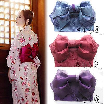 Japanese Women Kimono Yukata Styled Jacquard Floral Bow Tie Hanhaba Obi Belt