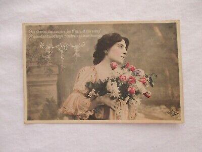 CARTE POSTALE ANCIENNE + - 1900 CPA FANTAISIE JEUNE FEMME FILLE ÉLÉGANTE GALANTE | eBay