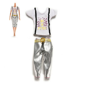 Top-2-Pcs-set-Doll-Clothes-for-s-Fashion-T-shirt-Medium-Length-Tight-Pants-BX