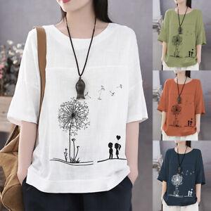 AU-10-24-Women-Summer-Printed-Floral-Top-Tee-T-Shirt-Loose-Short-Sleeve-Blouse