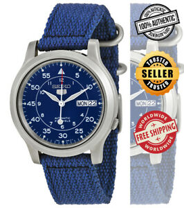 Seiko-5-Automatic-SNK807K2-Mens-Blue-Dial-Day-Date-Nylon-Strap-Watch